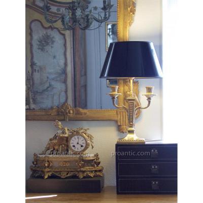 Chandelier Monté En Lampe, Signé E. Mottheau, Bronze Doré, XIXe
