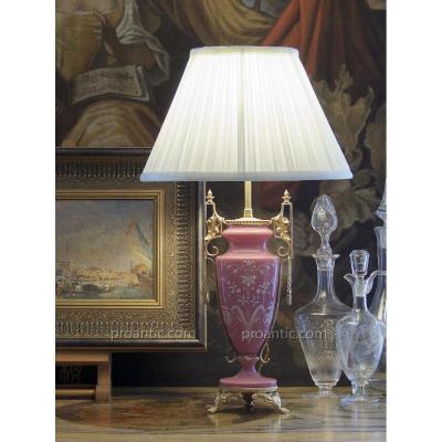 Lampe Vase En Opaline Rose, Décor émaillé Blanc, Monture Dorée, XIXe