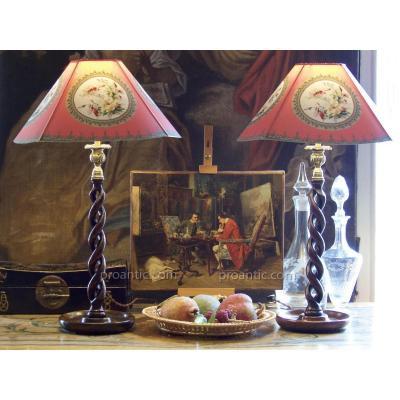 Paire de lampes bougeoirs à double spirale, chêne, XIXe