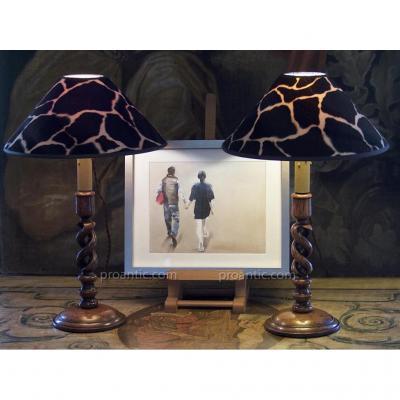 Paire De Lampes Bougeoirs Anglais à Double Spirale, Chêne Vernis, XIXe