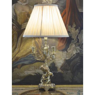 Chandelier / Lampe Lion Héraldique, Bronze Doré, XIXe