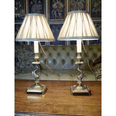 Paire De Lampes Bougeoirs Avec Dauphin, XIXe