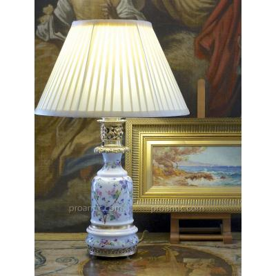 Louis Philippe Porcelain Lamp, Ornated With Wild Flowers, 19th