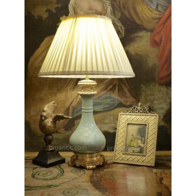 Lampe Céladon Et Bronze Doré, époque XIXe Napoléon III