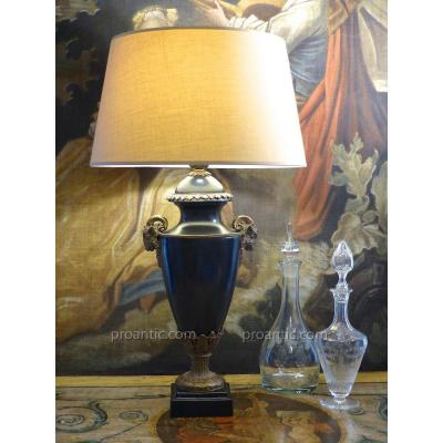 Large Black Ceramic Lamp With Ram Heads In The Louis XVI Style