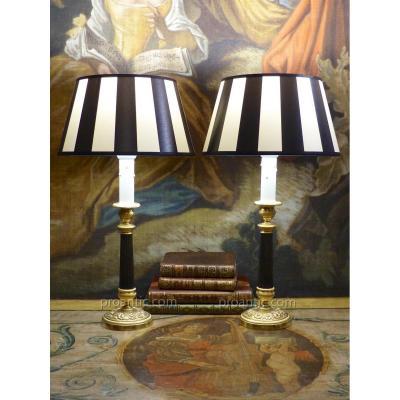 Paire De Lampes Bougeoirs En Bronze, époque Restauration, Début XIXe