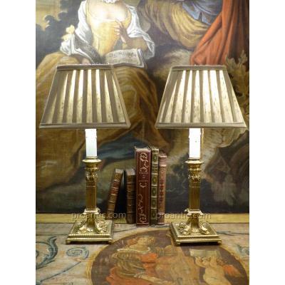 Paire De Lampes Bougeoirs Aux Poissons, Angleterre, XIXe
