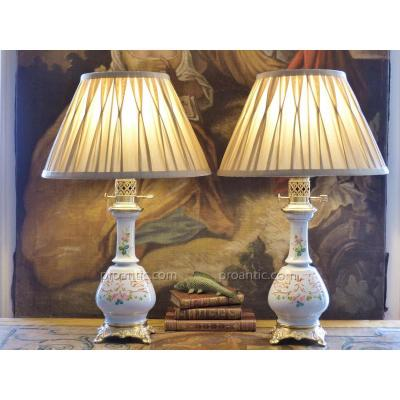 Pair Of Napoleon III Lamps In Grey Porcelain With Painted Roses And Volutes, 19th