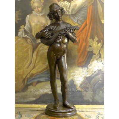 Grande statue en bronze à patine brune Le Chanteur Florentin, Paul Dubois, XIXe (1865), 77cm
