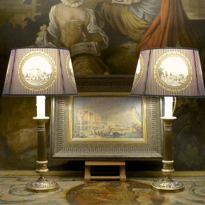 Paire de lampes bougeoirs Restauration, bronze doré, début XIXe