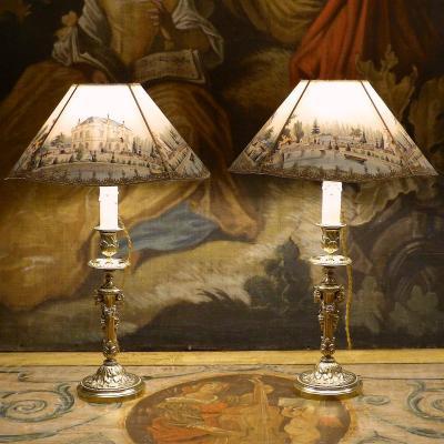 Paire de lampes bougeoirs aux béliers style Louis XVI, bronze, XIXe