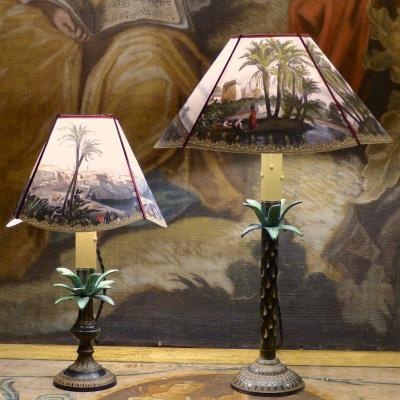 Pair Of Orientalist Candlestick Lamps With Palm Trees