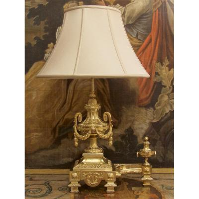 Gilt Bronze Andiron, Louis XVI Style, With Fire Pots Decor, Mounted In Lamp