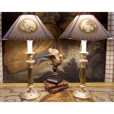 Paire De Lampes Bougeoirs Restauration à Décor De Fleurs Et Fruits, Bronze Doré, Début XIXe