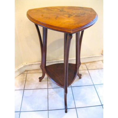 Petite Table d'Emile Gallé Marquetée Modèle Aux Chardons