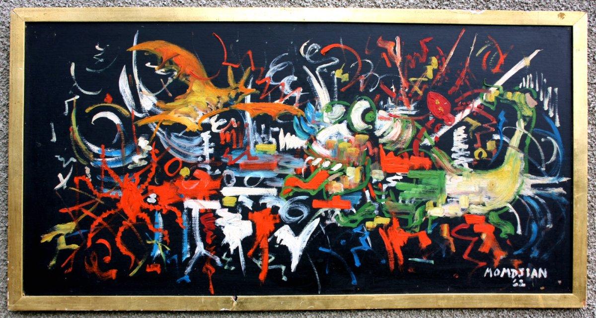 Grand Tableau Abstrait, signé MOMDJIAN 63
