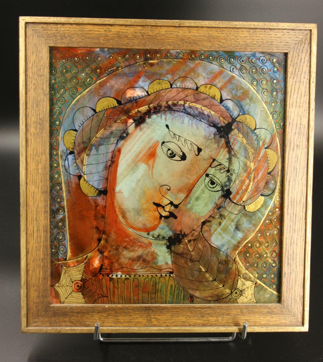 Icone de la Vierge. Peinture Sous Verre