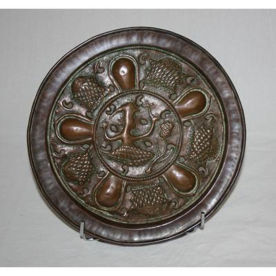 Copper Antropomorphic Alms Dish