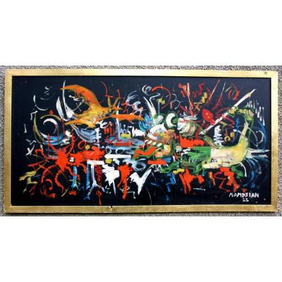 Large Abstract Painting, Signed Momdjian 63