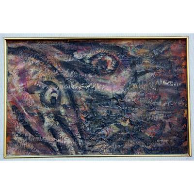 Huile Sur Carton, Art Brut, François Ozenda 1963