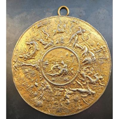 Plaquette En Plomb Doré, Venus Et Adonis, Hans Jamnitzer II (1539-1603)