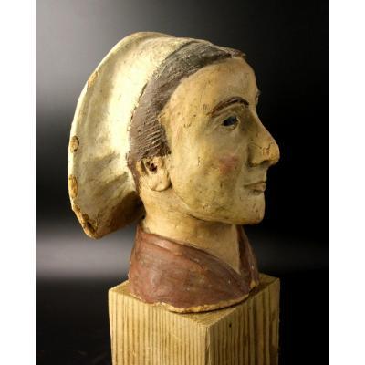 Folk Art Clay Head In Traditional Costume