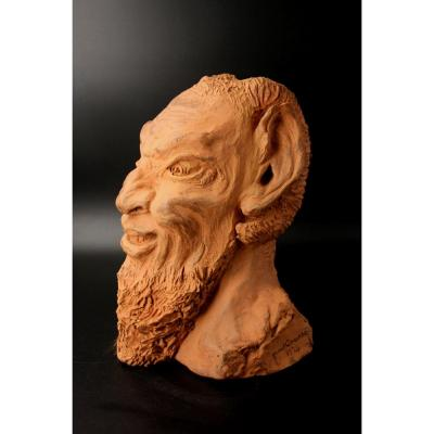 Head Of Fauna In Raw Clay, Signed Paul Causse 1934