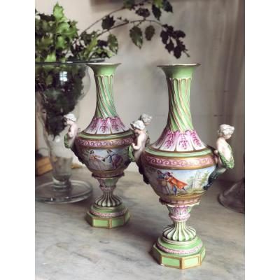 Pair Of Porcelain Vases From Saxony