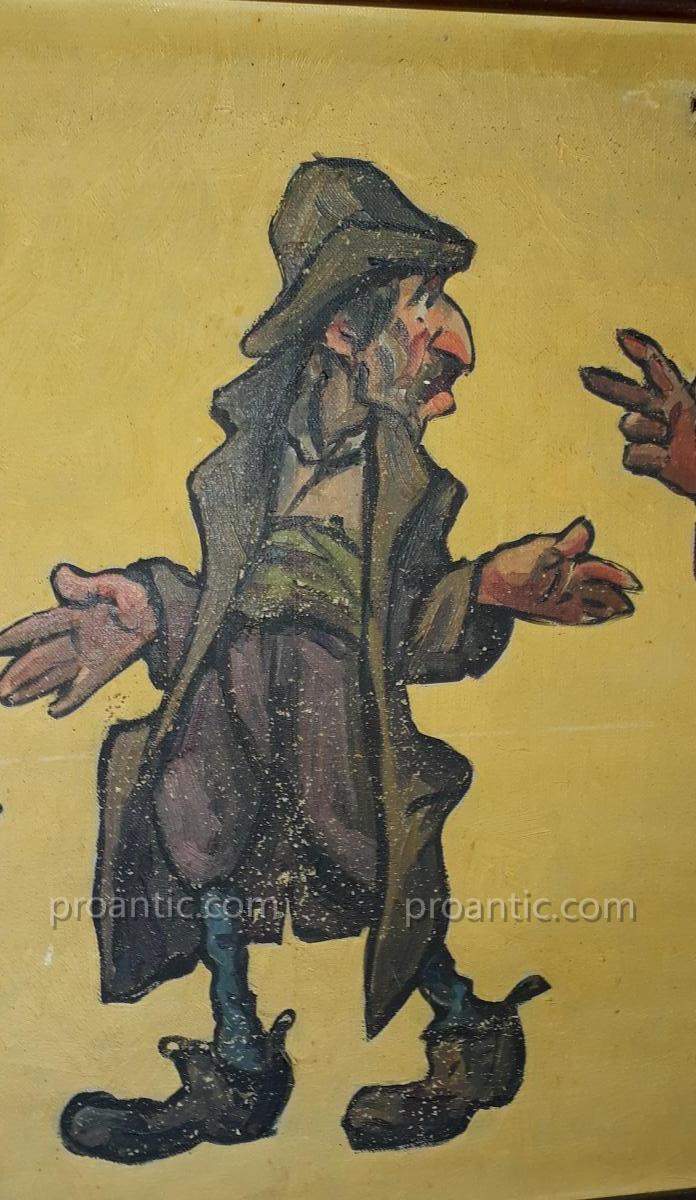 Paire De Toiles Caricatures Par Edouard Herzig Circa 1900-photo-4