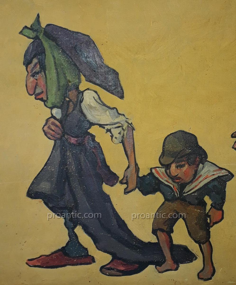 Paire De Toiles Caricatures Par Edouard Herzig Circa 1900-photo-5