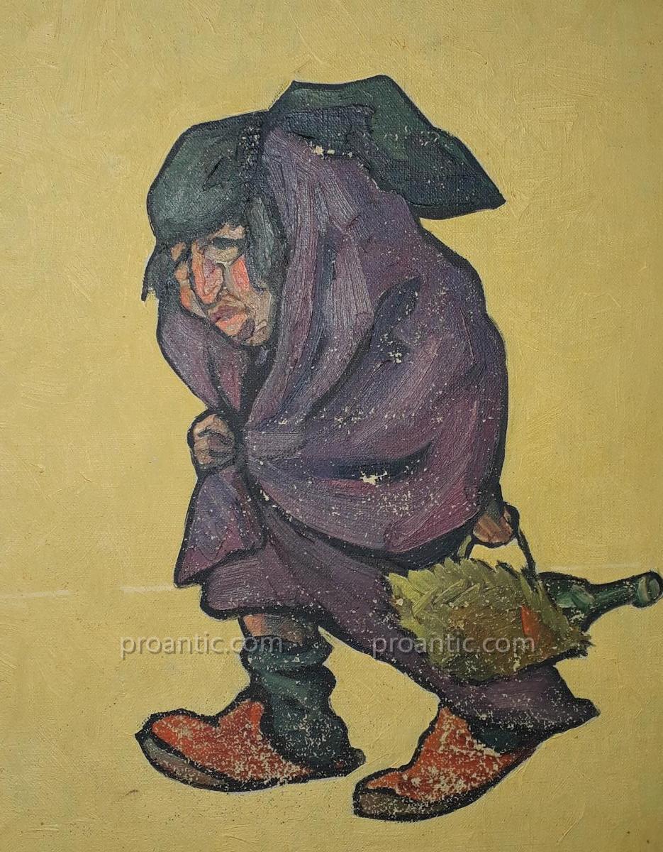 Paire De Toiles Caricatures Par Edouard Herzig Circa 1900-photo-7