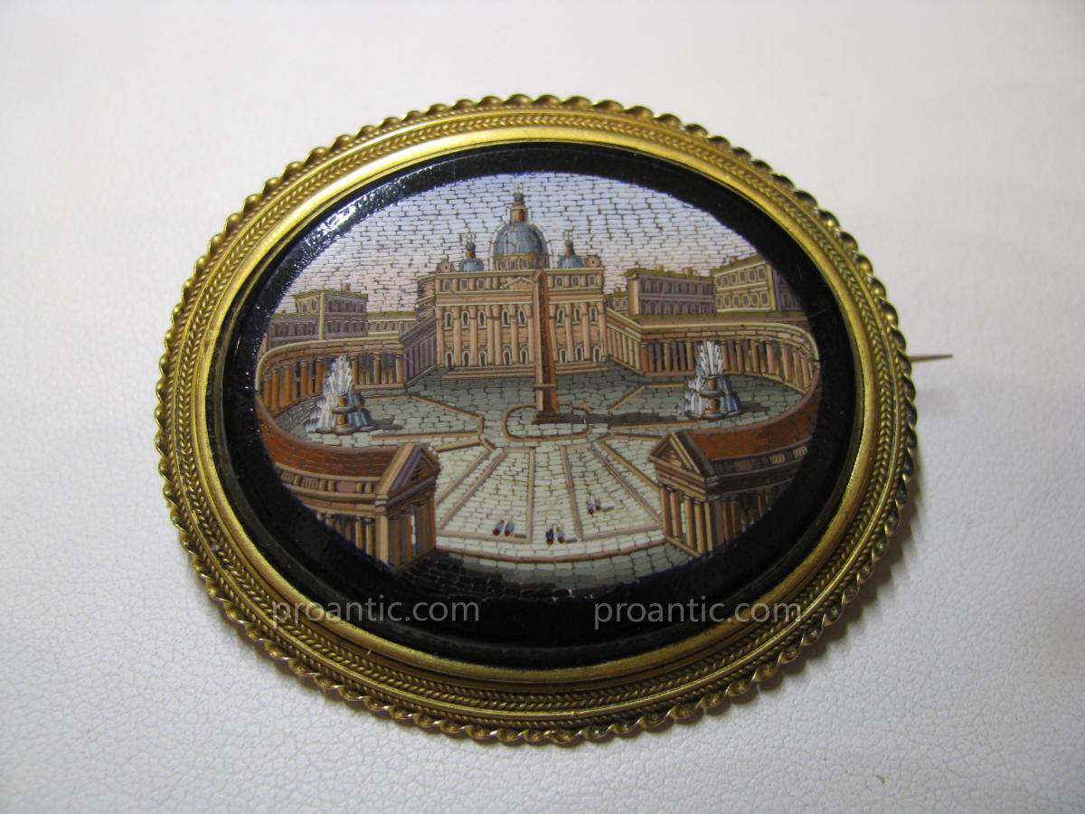 """Broche  Micromosaique  Italie  19ème  """"Grand Tour"""""""