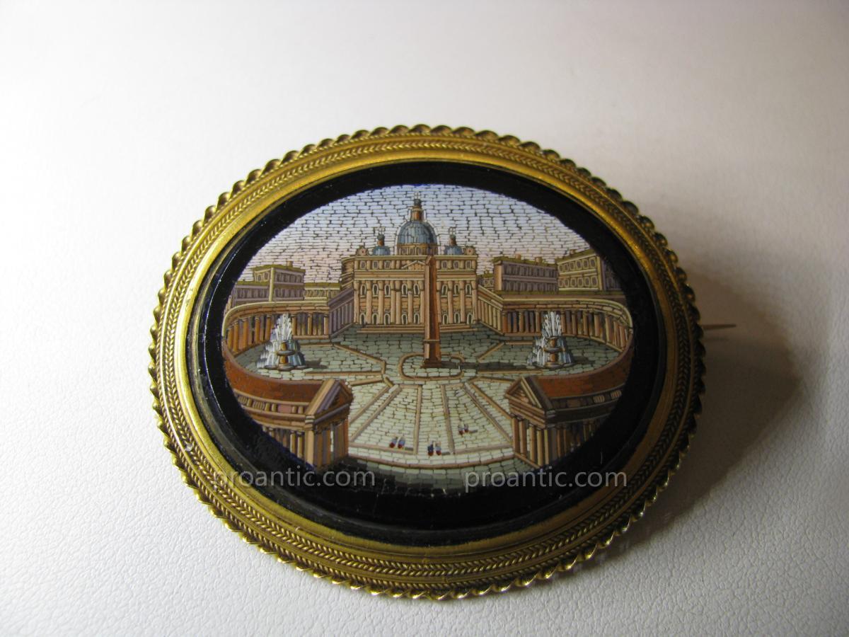 """Broche  Micromosaique  Italie  19ème  """"Grand Tour""""-photo-8"""