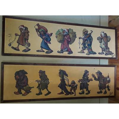 Paire De Toiles Caricatures Par Edouard Herzig Circa 1900