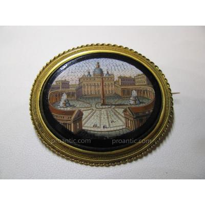 "Broche  Micromosaique  Italie  19ème  ""Grand Tour"""