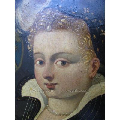 """Portrait """" Elégante Au Collier De Perle """" Epoque 17 Eme"""