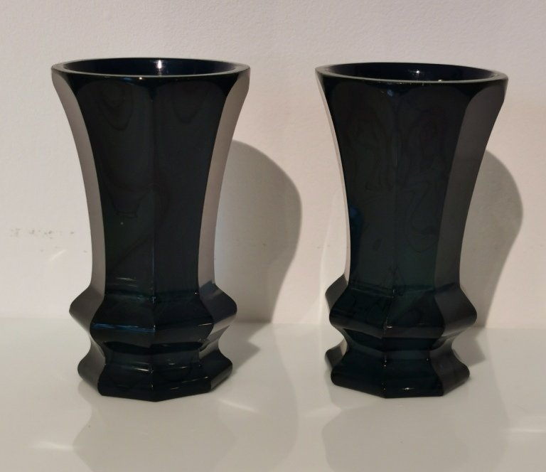 Lithyaline Glass Vases From F.egermann, 19th.