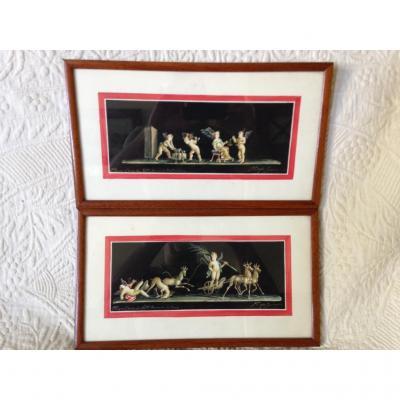 Watercolors, Grand Tour, Souvenir Of Pompeii, 20th Century