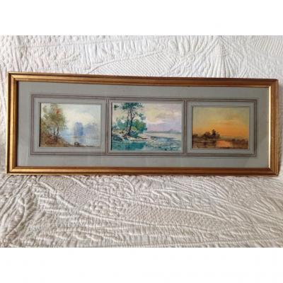 Set Of Three Drawings, Louis Ageron Signs