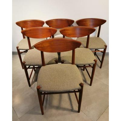 Serie De Six Chairs By Peter Hvidt And Orla Molgaard Nielsen