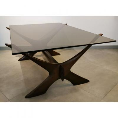 Dark Teak Coffee Table From Illum Wikkelso, Year 50.