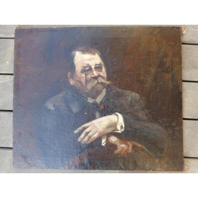 Huile/toile Portrait D Homme Fin XIX°