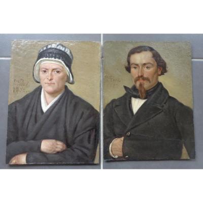Paires De Portraits De L Prot Dates 1852