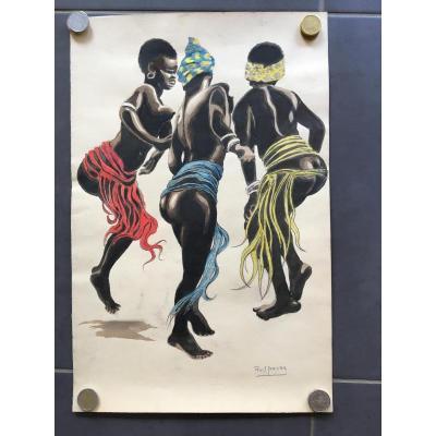 Roger IRRIERA  1894/1957 Aquarelle Danseurs Africains