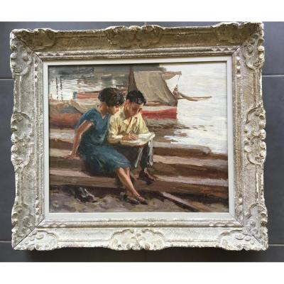 Oil / Canvas Children Ala Reading At The Dock Of A Port By Ferrigno Ntonio 1863/1940