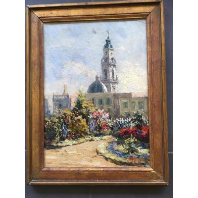 Oil / Carton Of Antonio Ferrigno 1863/1940 Landscape Of Church Italy Brazil?