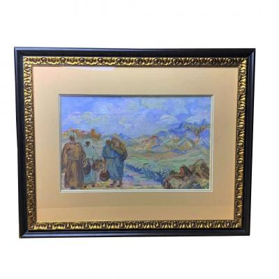 Animated Scene In An Orientalist School Landscape Of The 20th Century