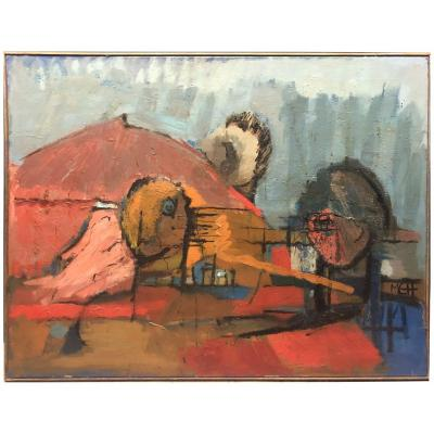 Marie Geneviève Havel (1931-2017) Oil On Canvas Countersigned On The Back