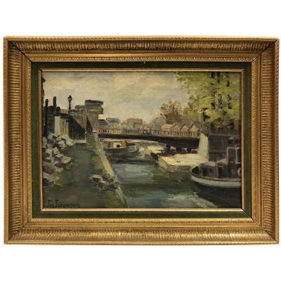 Bateau sur la rivière Suzanne Fricquegnon (1897-1982)