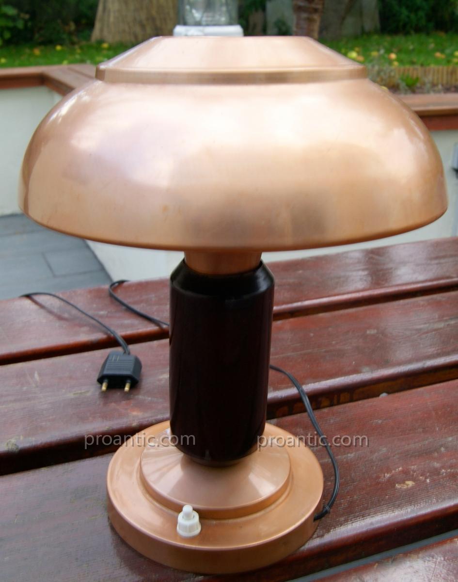 Lampe Champignon De Bureau En Cuivre Et Acajou Art Déco